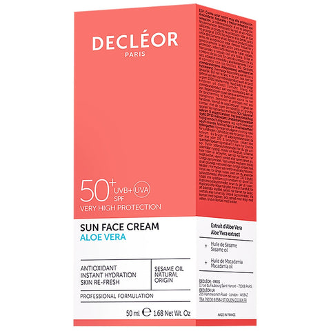 Decleor Sun Aloe Vera Sun Face Cream SPF50+ 50ml