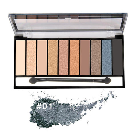 Eyeshadow Palette Waterproof Powder Matte Metallic 10 Colours - Beautyshop.ie