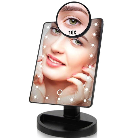 22 LED Touch Screen Makeup Mirror 1X 10X Bright Adjustable USB - Beautyshop.ie
