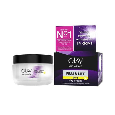 Olay Anti-Wrinkle Firm and Lift  SPF 15 Anti-Ageing Day Cream Moisturiser, 50 ml - Beautyshop.ie