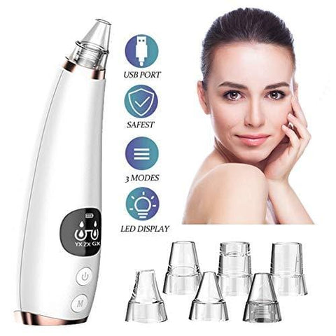 Pore ​​Vacuum med LED-display, Black Head Cleaning Tool med 6 utbytbara huvuden - Beautyshop.ie
