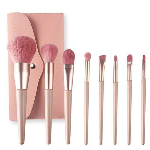 8PCS Professional Premium Synthetic Kabuki Foundation Brushes avec sac en cuir PU (rose) - Beautyshop.fr