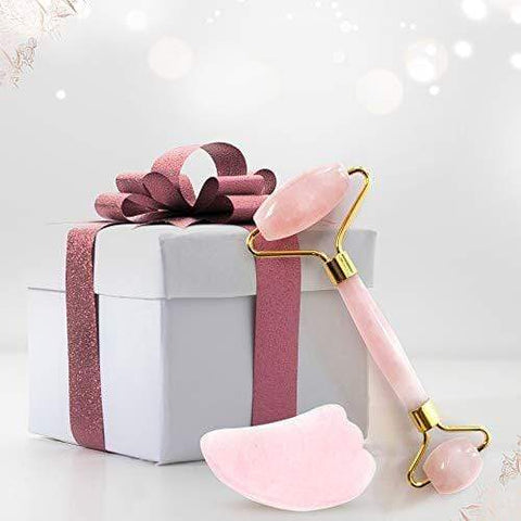 Rose Quartz Jade Roller ja Gua Sha Scraper Set UK Design - Beautyshop.fi