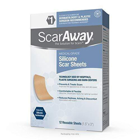 ScarAway Advanced Skincare Silicone Scar Sheets for Face, Body 12 Sheets - Beautyshop.lv