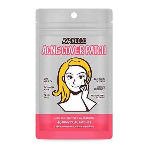 Avarelle Akne Cover Spot Patch Hydrocolloid, Tea Tree & Calendula Oil (VARIETY PACK / 40 PATCHES) - Beautyshop.fi
