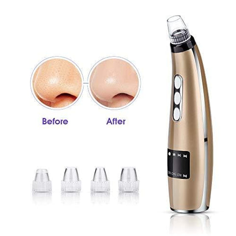 Gold Blackhead Remover, USB Rechargeable Extractor Removal Tool With 5 Probe Heads