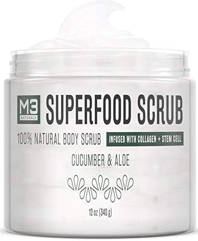 M3 Naturals Superfood Scrub infused with Collagen and Stem Cell & Natural Cucumber (340g) - Beautyshop.ie