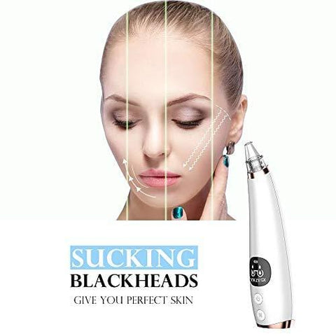 Pore Vacuum with LED display, Black Head Cleaning Tool with 6 Replaceable Heads