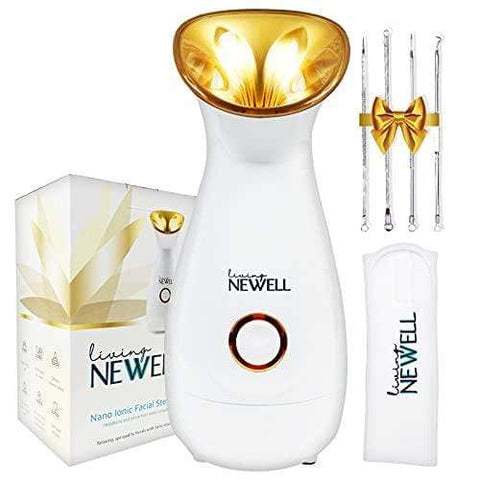Gold Nano Ionic Face Steamer with Warm Mist Atomizer, Steamer Face Spa Headband and Skincare Tool Kit Included - Beautyshop.ie