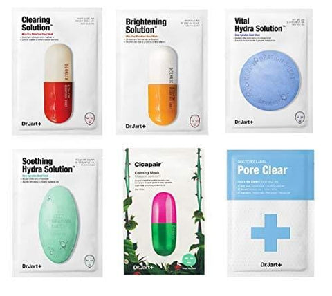 Dr. Jart Mask Sheet Set 6 Pcs Mixed with Pore Mask & Brightening Mask - Beautyshop.ie