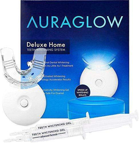 AuraGlow Teeth Whitening Kit, LED Light, 35% Carbamide Peroxide, (2) 5ml Gel Syringes, Tray and Case