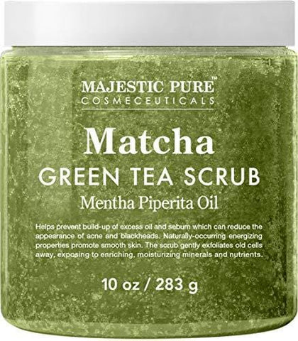 Majestic Pure Matcha Green Tea Body Scrub for All Natural Skin Care (283g)