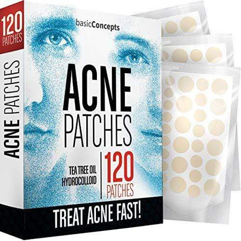 Basic Concepts Acne Patches (120 Pack) med 3 storlekar, fläckar, Acne Dots, Pimple Stickers