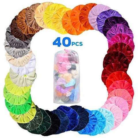 Hair Scrunchies, 40 Pieces Färgglada elastiska hårband - Beautyshop.ie