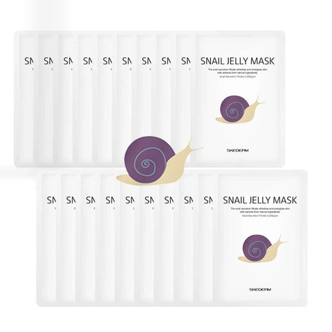 SKEDERM Snail Jelly Face Mask Sheet for Deep Moisturizing, Pack of 10 - Beautyshop.ie