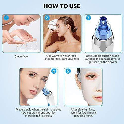 Blackhead Remover Vacuum 4 Suction Heads LED Display - Beautyshop.ie