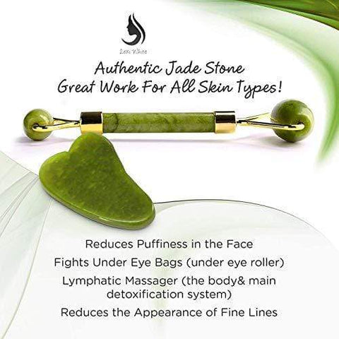 Real 100% Natural Jade Stone Kit Jade Roller With Gua Sha Scraper - Beautyshop.ie