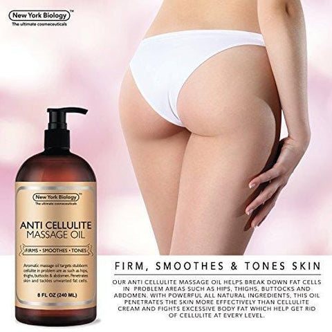 New York Biology Anti Cellulite Treatment Massage Oil - Alle naturlige ingredienser (240ml) - Beautyshop.dk