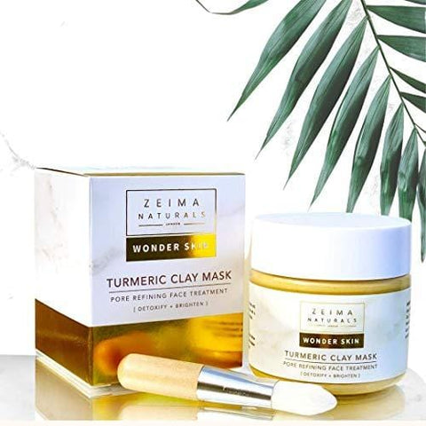 Natural Turmeric Face Clay Mask & Brush with Skin Brightening Vitamin C - 120ml
