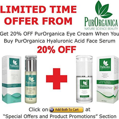 PurOrganica Hyaluronic Acid Face Serum - Huge 60 ML Bottle