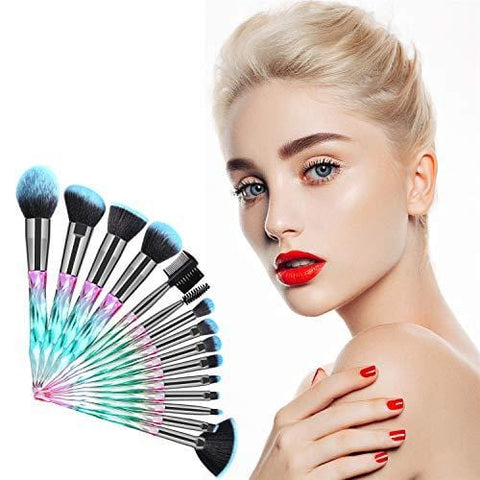 15Pcs Crystal Handles Brush Set Professional Make up Brushes with Soft Bristles - Beautyshop.ie