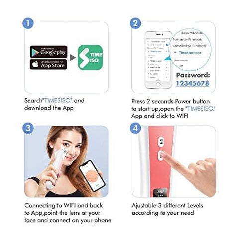 WiFi Visual Facial Pore Cleanser Pimple 1080P HD 20X Microscope Camera with 6 Suction Pores