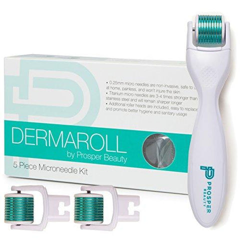 Derma Roller Microneedle 5 Piece Kit Face Roller w/ 3 Extra Replaceable Heads - Beautyshop.ie