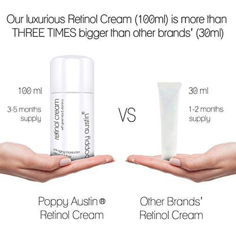 Retinol Cream for Day & Night by Poppy Austin® - TRIPLED SIZED 100ml - - Beautyshop.fi