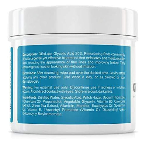 QRxLabs Glycolic Acid 20% Professional Resurfacing Pads (50 Pieces) - Beautyshop.ie