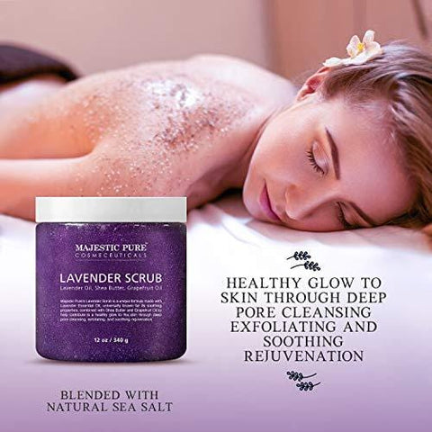 Lavender Oil Body Scrub Exfoliator with Shea Butter and Grapefruit Oil by Majestic Pure (340g)