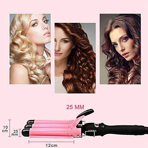 Triple Barrel Curling Wand Iron with LCD Temperature Display