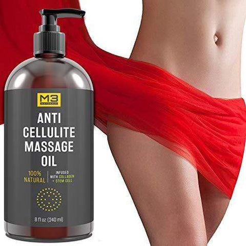 M3 Naturals Anti Cellulite Massage Oil Infused with Collagen (240ml) - Beautyshop.dk