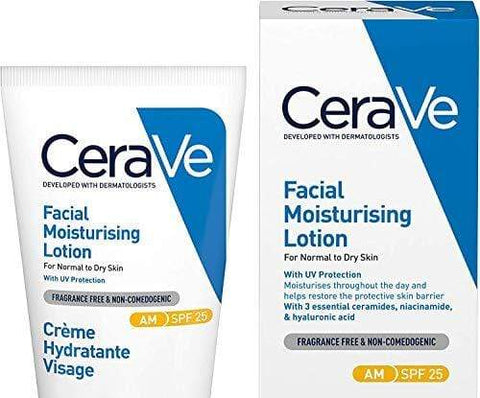 CeraVe AM Facial Moisturizing Lotion SPF 25 | 52 ml / 1.75 oz | Daglig ansiktsfuktare med SPF för normal till torr hud - Beautyshop.ie