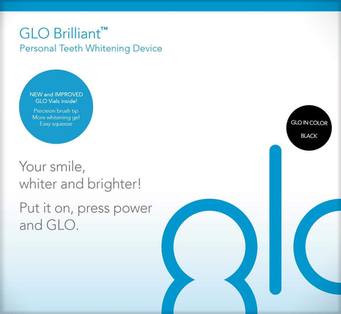 GLO Brilliant Deluxe Teeth Whitening Device Kit Fast, Pain-Free, Long Lasting Results. Includes 10 GLO Gel Vials+ Lip Care