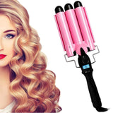 Triple Barrel Curling makila burdina LCD tenperatura pantailarekin - Beautyshop.ie