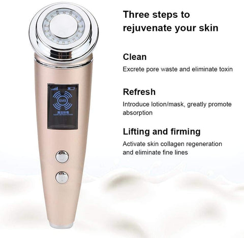 5 i 1 Ultrasonic Galvanic Ion Photon Facial Massager med hög frekvens - Beautyshop.ie