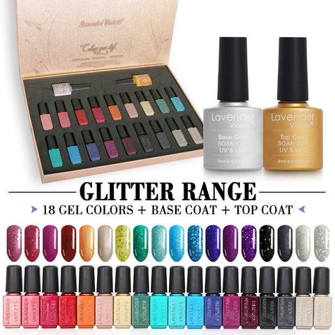 Lavender Violets 20pcs Glitter Gel Nail Polish Gift Set - Beautyshop.ie