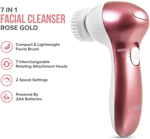 7 IN 1 Rose Gold Electric Sonia Spa Cleansing Brush - Beautyshop.ie