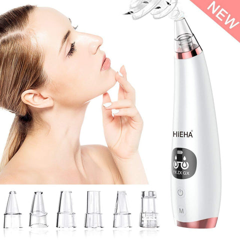 Blackhead Remover Vacuum Suction Facial Pore Cleanser med 6 multifunktionel sonde og LED-skærm - Beautyshop.dk