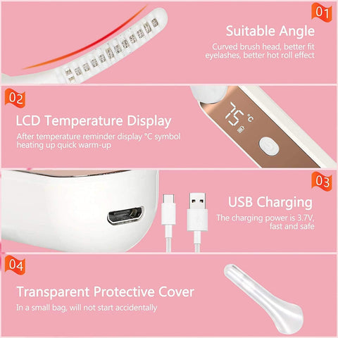 Portable Led Rechargeable Heated Eyelash Curler Kit Quick Heat Adjustable 4 Modes - Beautyshop.ie