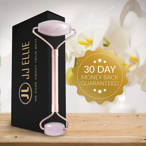 Original JJ Ellie Professional Rose Quartz Facial Massage Roller with 4 Ebooks - Beautyshop.ie