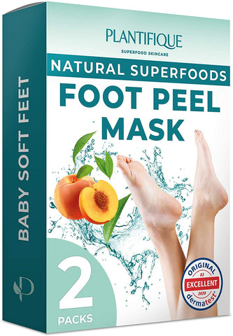 Plantifique Foot Peel Mask - Dermatologist Tested Foot Exfoliator (2 Pack)