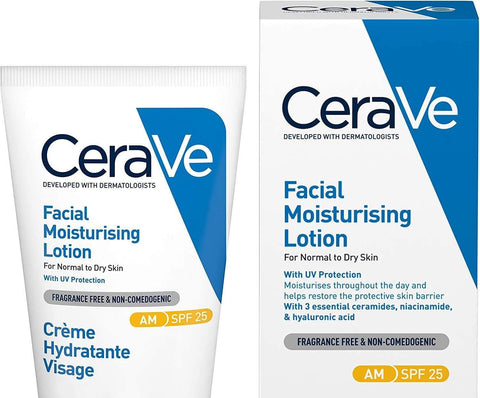 CeraVe AM Facial Moisturising Lotion SPF 25 | 52ml/1.75oz | Daily Facial Moisturiser with SPF for Normal to Dry Skin - Beautyshop.ie