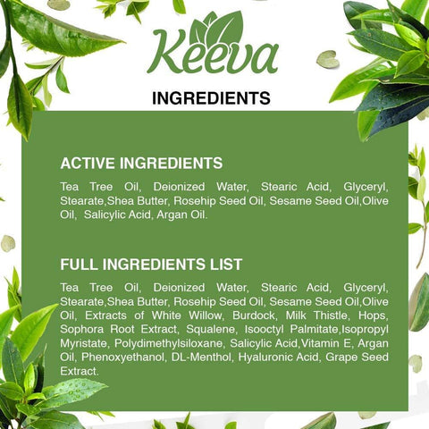 Keeva Organics Acne Treatment Cream With Secret TEA TREE OIL Formula (30ML)