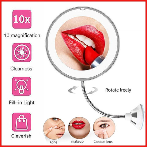 Kompakt 360 Degree Rotation 10X Förstorande LED-makeupspegel - Beautyshop.ie