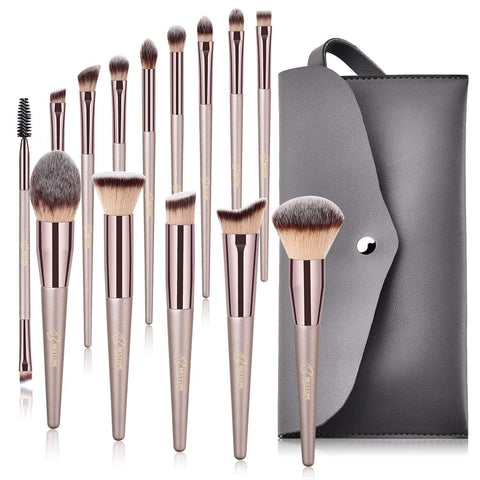 Champagne Gold Premium Makeup Brushes (15 Pieces)