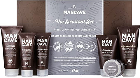 ManCave Survival Gift Set - 6 Natural Grooming Essentials - Beautyshop.it