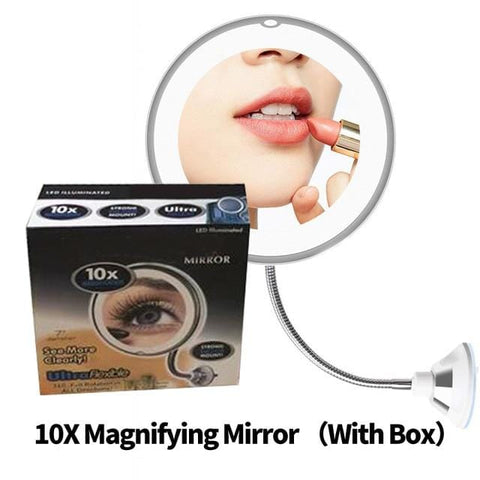 Compact 360 Degree Rotation 10X Magnifying LED Makeup Mirror