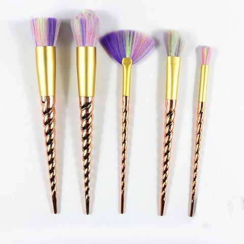 Gold Unicorn Brush 5 Piece Set