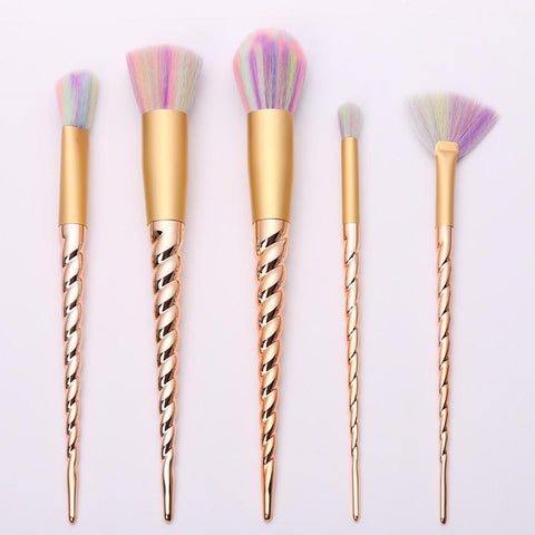 Gold Unicorn Brush 5 Piece Set - Beautyshop.ie